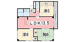 コーポエム・エヌ・中島[102号室]の間取り