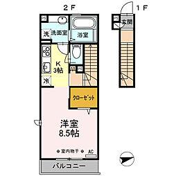 東京都調布市調布ケ丘2丁目の賃貸アパートの間取り