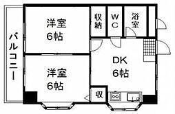 愛媛県松山市錦町の賃貸マンションの間取り