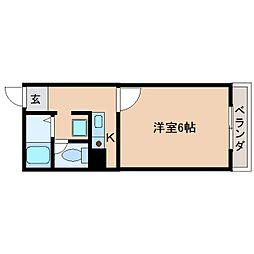 近鉄南大阪線 高田市駅 徒歩3分の賃貸マンション 3階1Kの間取り