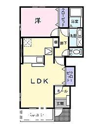 広島県広島市佐伯区五日市町大字石内の賃貸アパートの間取り