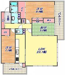兵庫県神戸市東灘区鴨子ケ原2丁目の賃貸マンションの間取り