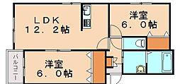 福岡県飯塚市平恒の賃貸マンションの間取り