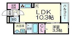 プランドール高槻 4階1LDKの間取り