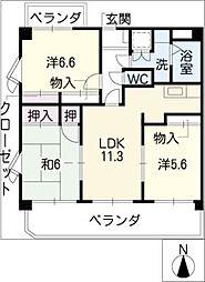 シャルム[4階]の間取り