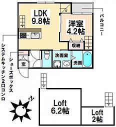 愛知県名古屋市瑞穂区河岸町4丁目の賃貸アパートの間取り