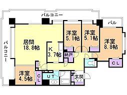 ステイツ円山表参道 9階4LDKの間取り
