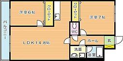 エミネント華里[4階]の間取り