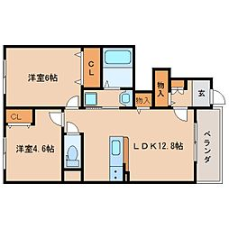 JR関西本線 王寺駅 バス10分 アピタ西大和店前下車 徒歩1分の賃貸アパート 1階2LDKの間取り