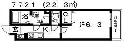 EXハイツ天美II[2階]の間取り