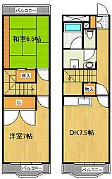 JR東北本線 仙台駅 徒歩15分の賃貸マンション 6階2DKの間取り
