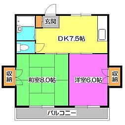東京都東村山市多摩湖町1丁目の賃貸アパートの間取り