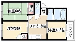 愛知県名古屋市緑区徳重1丁目の賃貸アパートの間取り