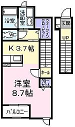 東京都青梅市新町1丁目の賃貸アパートの間取り