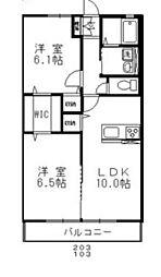 JR山陽本線 高島駅 徒歩17分の賃貸アパート 1階2LDKの間取り