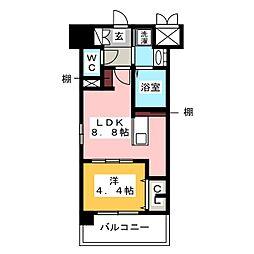 レトワール清水[8階]の間取り