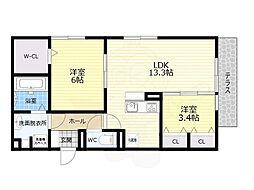 Osaka Metro谷町線 喜連瓜破駅 徒歩12分の賃貸アパート 2階2LDKの間取り