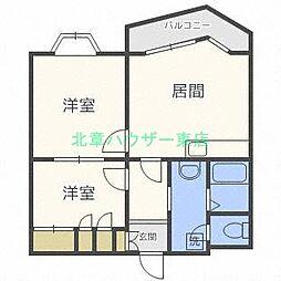 北海道札幌市東区北四十二条東17丁目の賃貸マンションの間取り