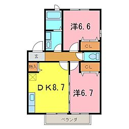 グリーンハットA[2階]の間取り