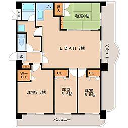 ライオンズマンション久留米プラザ 3番館[902号室]の間取り