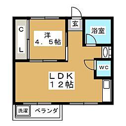 コーポ矢田橋 4階1LDKの間取り