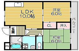 Osaka Metro谷町線 大日駅 徒歩5分の賃貸マンション 5階2LDKの間取り