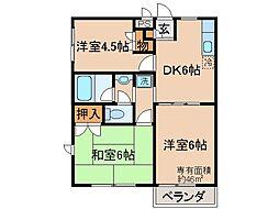 京都府宇治市木幡中村の賃貸アパートの間取り