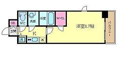 プレサンス京都鴨川 2階1Kの間取り