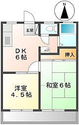 カマダハイツA[1階]の間取り