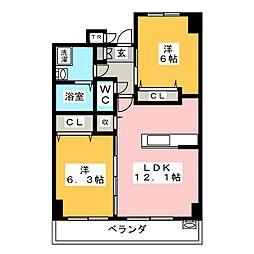 愛知県名古屋市西区幅下2丁目の賃貸マンションの間取り