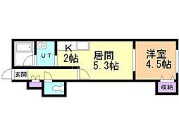 フィールハーモニーII 2階1DKの間取り