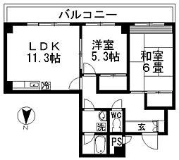 キャロット廻沢[6階]の間取り