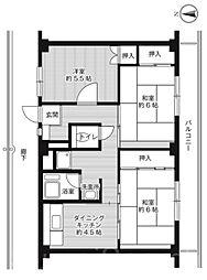 ビレッジハウス城蓮寺1号棟[4階]の間取り