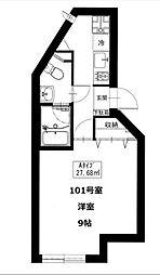神奈川県横浜市神奈川区六角橋2丁目の賃貸マンションの間取り
