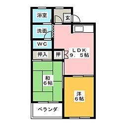 ツインフラッツ A棟[2階]の間取り