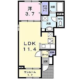 長野県松本市深志2丁目の賃貸アパートの間取り