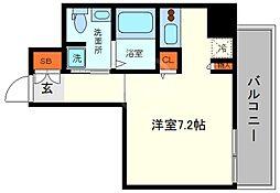 リンクハウス南堀江 7階ワンルームの間取り
