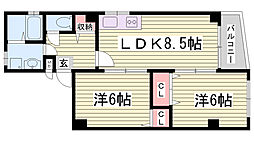 兵庫県神戸市長田区長田町3丁目の賃貸マンションの間取り