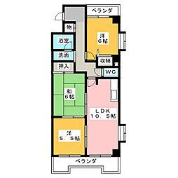 ファミール鶴里[6階]の間取り