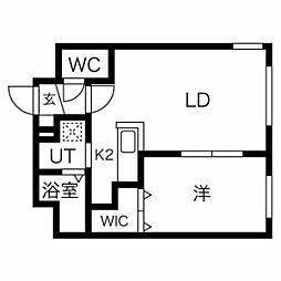 札幌市営東西線 西11丁目駅 徒歩13分の賃貸マンション 4階1LDKの間取り
