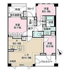 パークハウス玉川岡本[2階]の間取り
