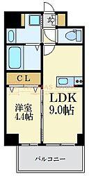 福岡市地下鉄七隈線 薬院大通駅 徒歩7分の賃貸マンション 2階1LDKの間取り