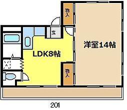 愛知県名古屋市天白区焼山1丁目の賃貸アパートの間取り