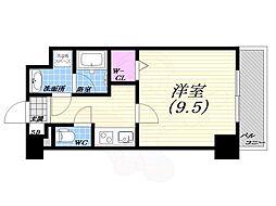阪急神戸本線 西宮北口駅 徒歩18分の賃貸マンション 6階1Kの間取り