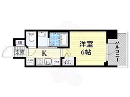 エステムコート新大阪13ニスタ 8階1Kの間取り