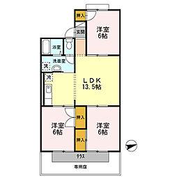 シティーハウス栄B棟 1階3LDKの間取り