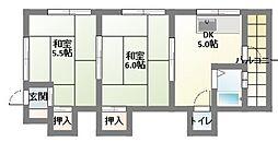 兵庫県神戸市須磨区妙法寺字津江田の賃貸アパートの間取り