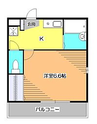 東京都小平市学園東町2丁目の賃貸アパートの間取り