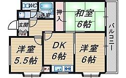 大阪府豊中市服部本町1丁目の賃貸マンションの間取り