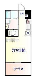 JR仙石線 陸前原ノ町駅 徒歩10分の賃貸アパート 2階ワンルームの間取り